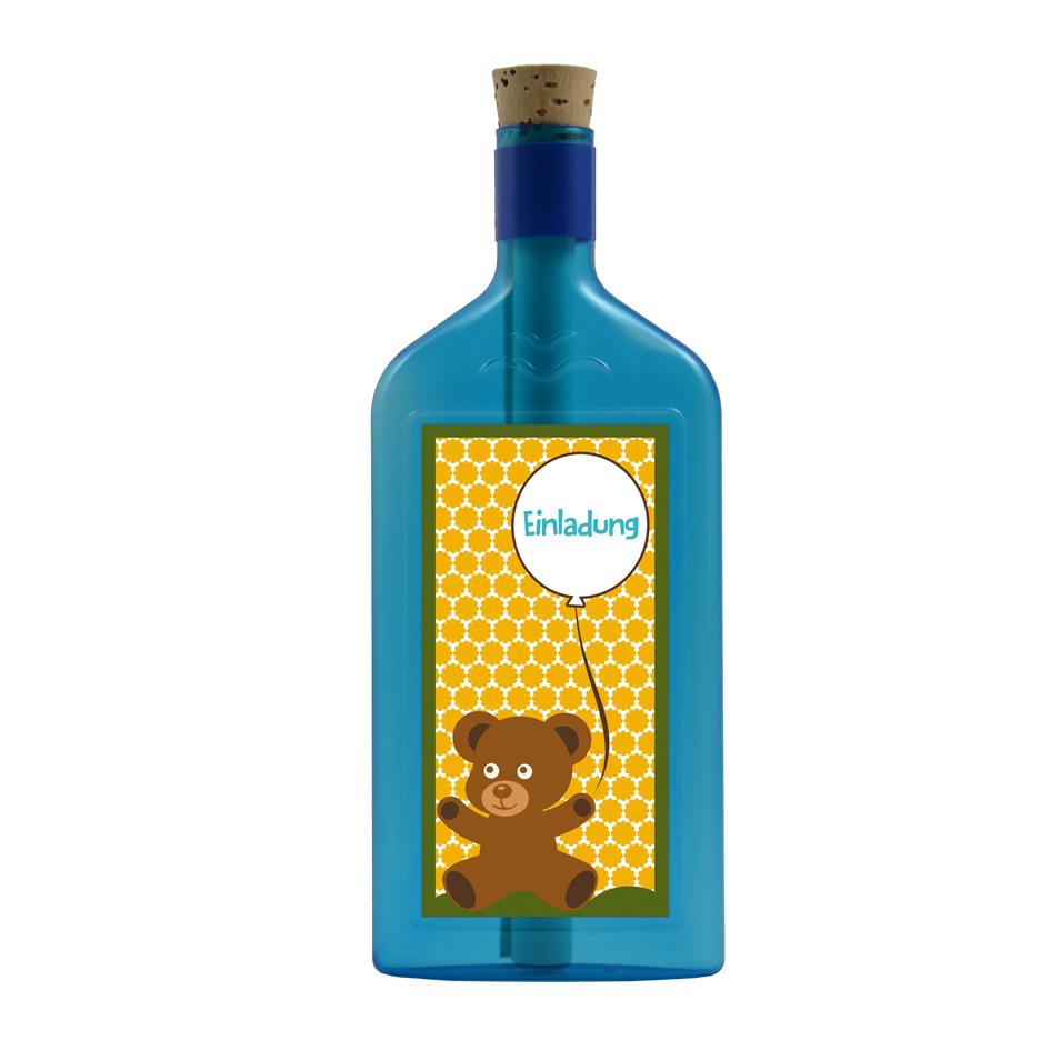 """Blaue Flasche mit Motiv """"Einladung"""""""