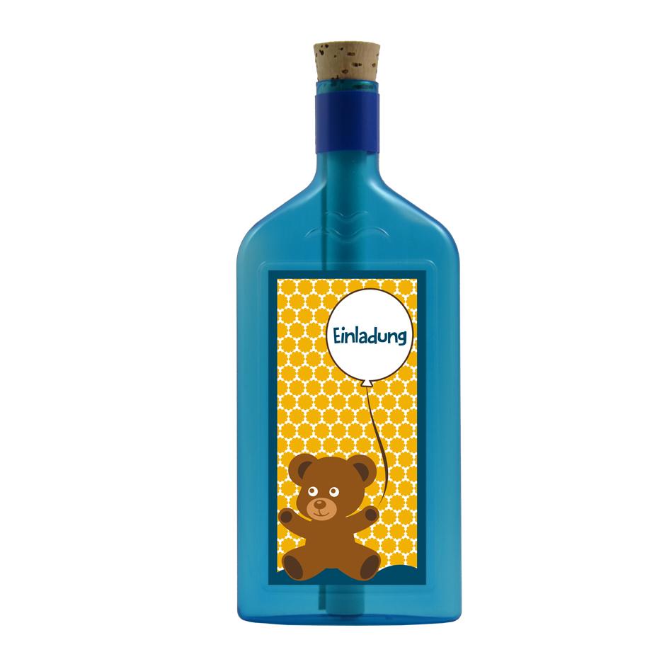 """Blaue Flasche mit Sujet """"Einladung"""""""