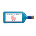 """Blaue Flasche mit Sujet """"Glückwunsch zur Geburt"""""""