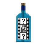 """Blaue Flasche mit Sujet """"Lust auf Kino?"""""""