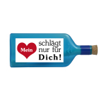 """Blaue Flasche mit Sujet """"Mein Herz schlägt nur für Dich"""""""