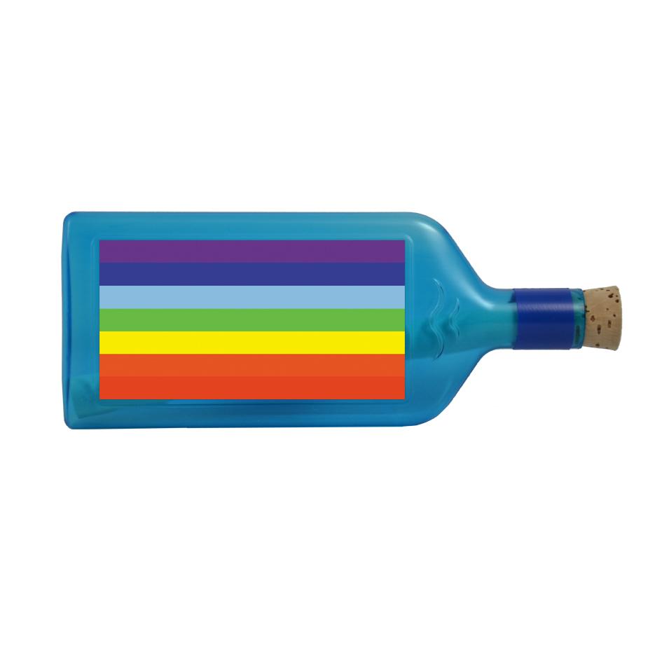 """Blaue Flasche mit Sujet """"Regenbogen"""""""