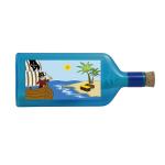 """Blaue Flasche mit Sujet """"Pirat"""""""