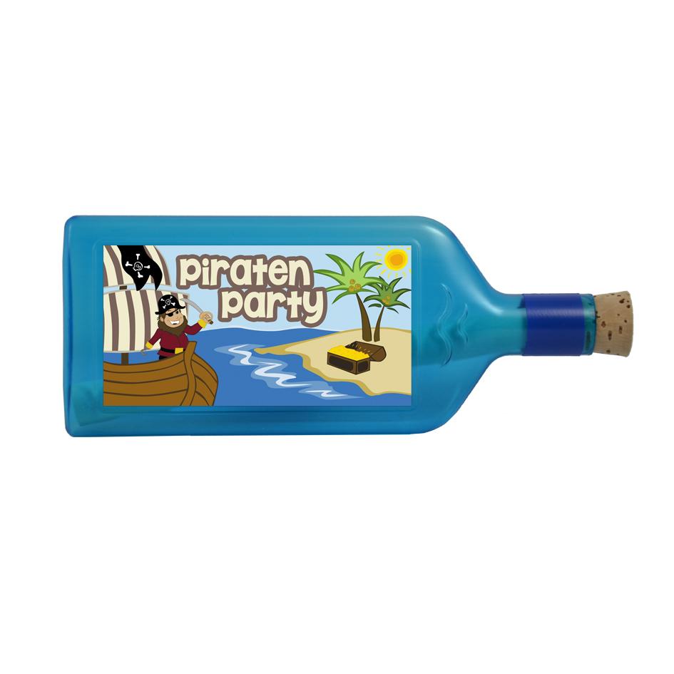 """Blaue Flasche mit Sujet """"Piraten Party"""""""