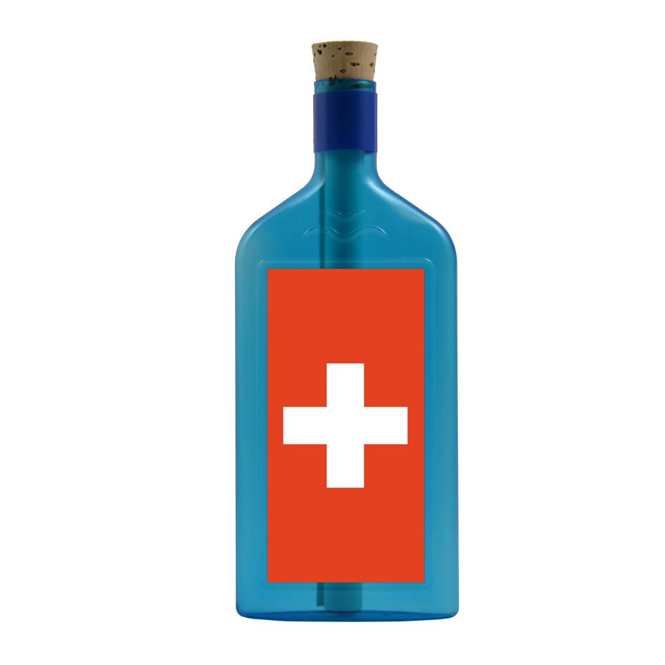 Flaschengruss mit Schweiz Motiv