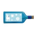 """Blaue Flasche mit Sujet """"Weihnachten"""""""