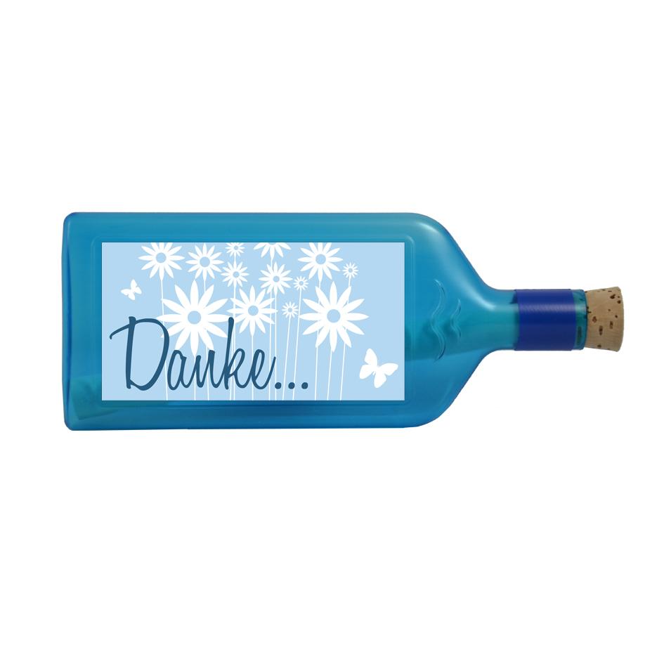 """Flasche blau mit Sujet """"Danke..."""""""