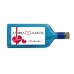 """Blaue Flasche mit Sujet """"Einladung Hochzeit"""" (personalisiert)"""