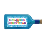 """Blaue Flasche mit Sujet """"Einladung zum Geburtstag"""""""