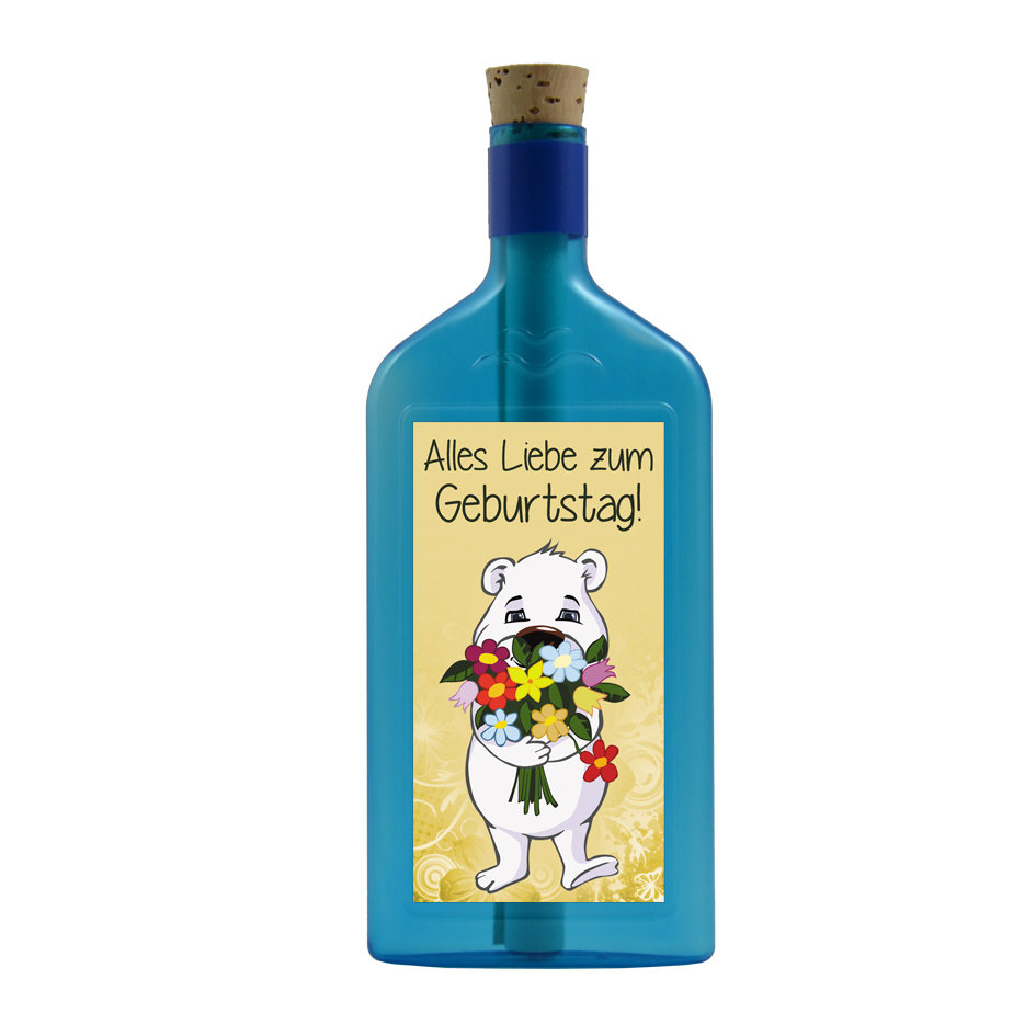 """Blaue Flasche mit Sujet """"Eisbär - Alles Liebe zum Geburtstag"""""""