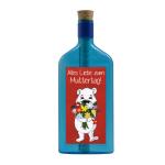 """Blaue Flasche mit Sujet """"Eisbär - Alles Liebe zum Muttertag"""""""