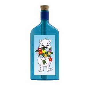 """Blaue Flasche mit Sujet """"Eisbär mit Blumenstrauss"""""""