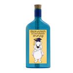 """Blaue Flasche mit Sujet """"Eisbär - Glückwunsch zur bestandenen Prüfung"""""""