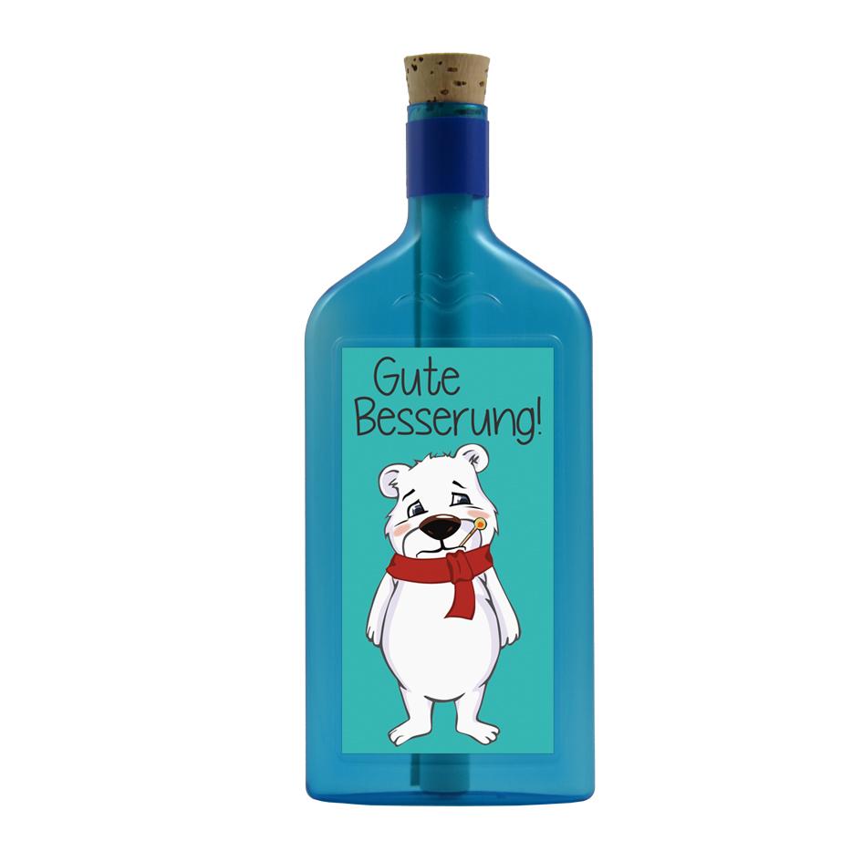 """Blaue Flasche mit Sujet """"Eisbär - Gute Besserung"""""""