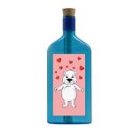 """Blaue Flasche mit Eisbär """"Herzen"""""""