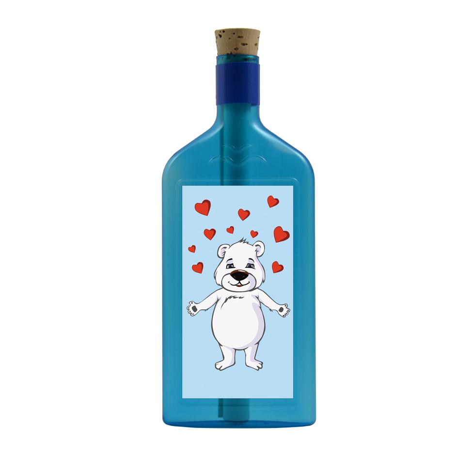 """Blaue Flasche mit Eisbär Sujet """"Herzen"""""""