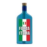 """Blaue Flasche mit Sujet """"Forza Italia"""""""