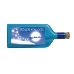 """Blaue Flasche mit Sujet """"Fröhliche Weihnachten"""""""
