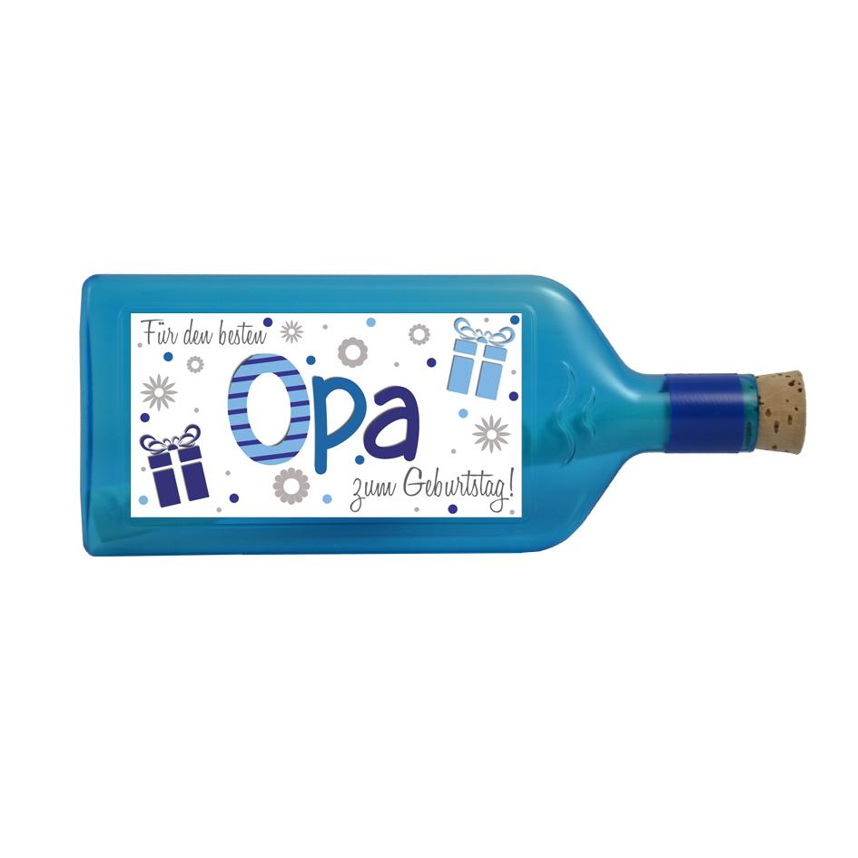 """Blaue Flasche mit Sujet """"Für den besten Opa zum Geburtstag"""""""