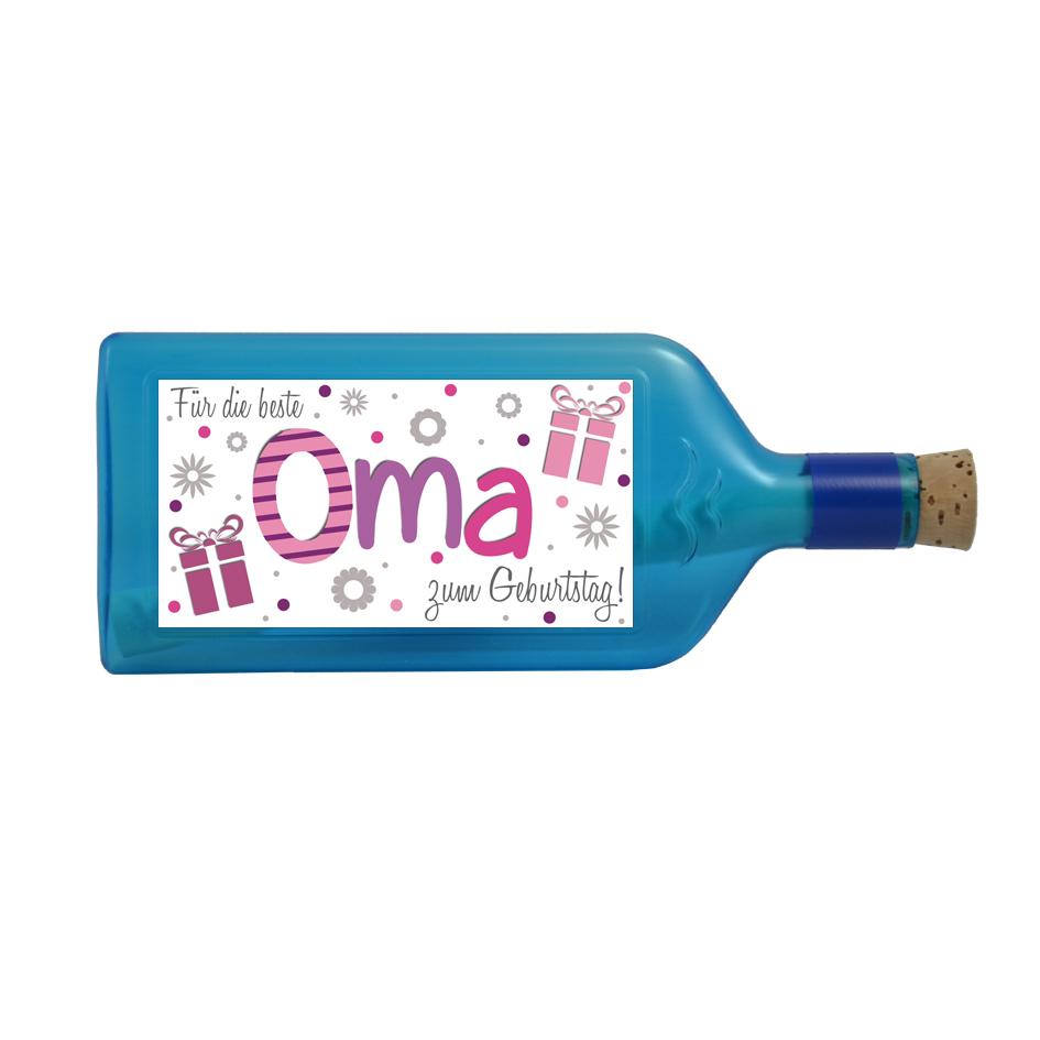 """Blaue Flasche mit Sujet """"Für die beste Oma zum Geburtstag"""""""