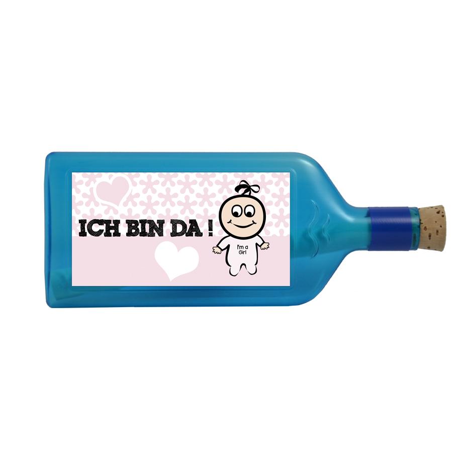 """Blaue Flasche mit Sujet """"Ich bin da!"""" (Mädchen)"""