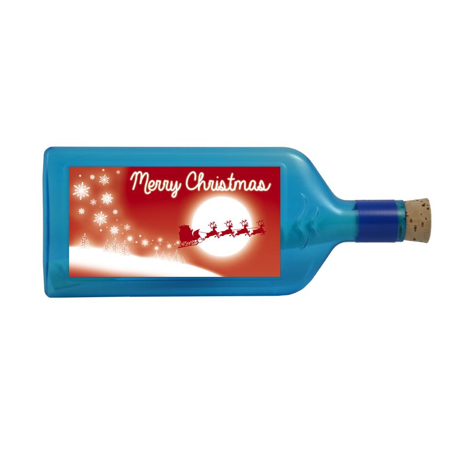 """Blaue Flasche mit Sujet """"Merry Christmas"""""""