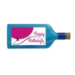 """Blaue Flasche mit Sujet """"Happy Birthday!"""""""