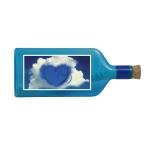"""Blaue Flasche mit Sujet """"Herz in Wolke"""""""