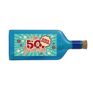 """Blaue Flasche mit Sujet: """"Zum 50. Geburtstag - Alles Gute!"""""""