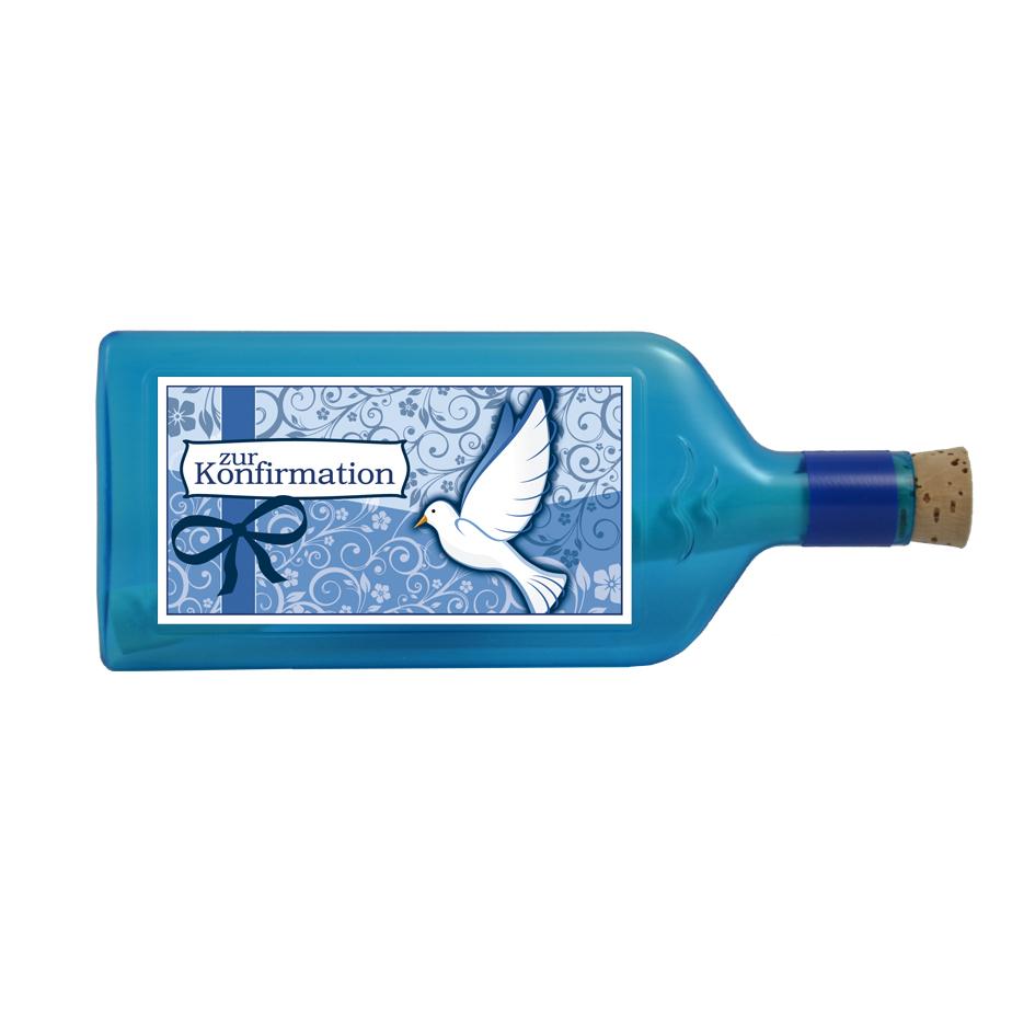 """Blaue Flasche mit Sujet """"Zur Konfirmation"""""""