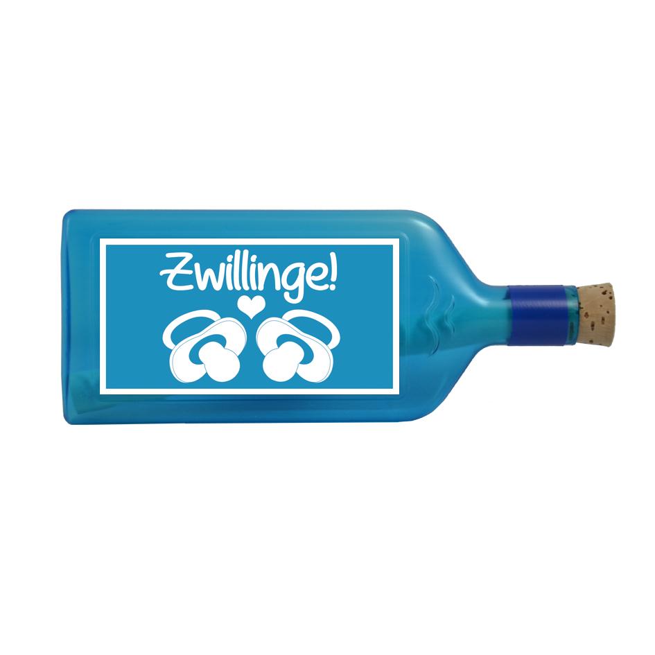 """Blaue Flasche mit Sujet """"Zwillinge!"""""""