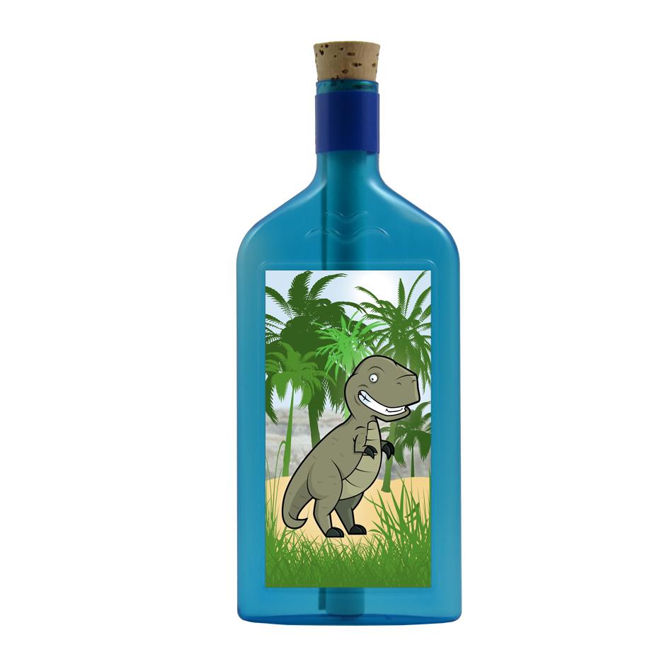 """Blaue Flasche mit Sujet """"Dinosaurier"""""""