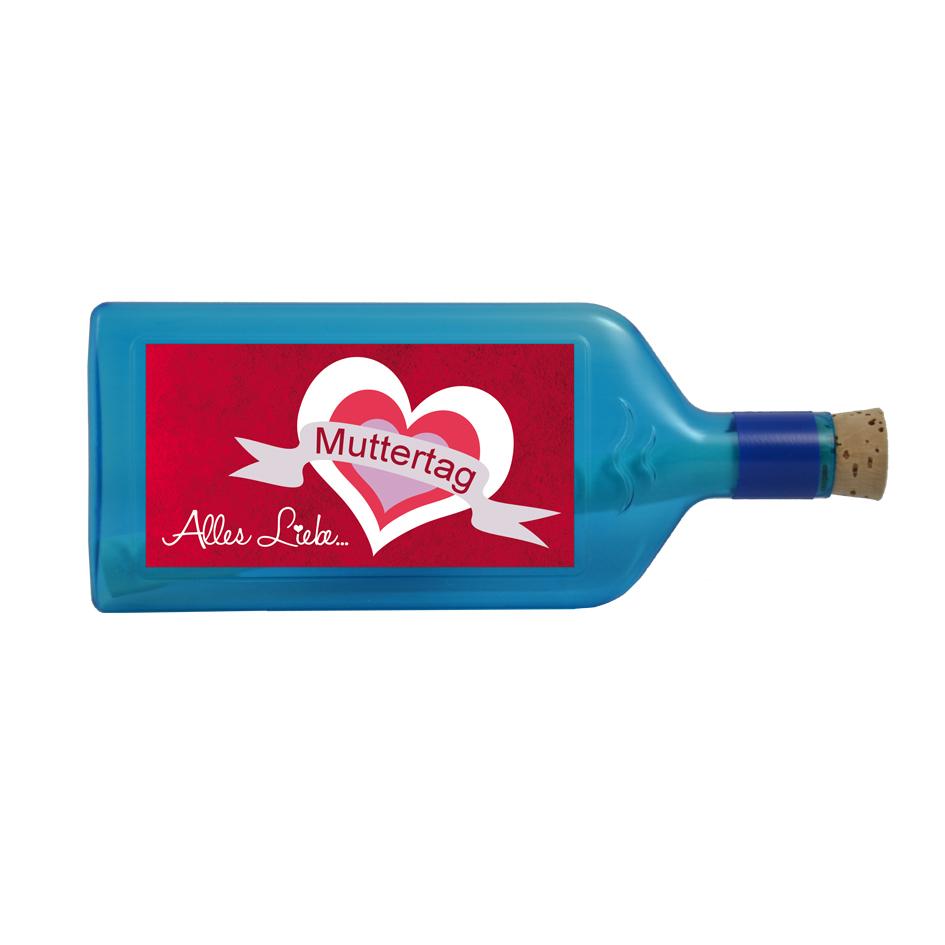 """Blaue Flasche mit Sujet """"Muttertag - Alles Liebe..."""""""