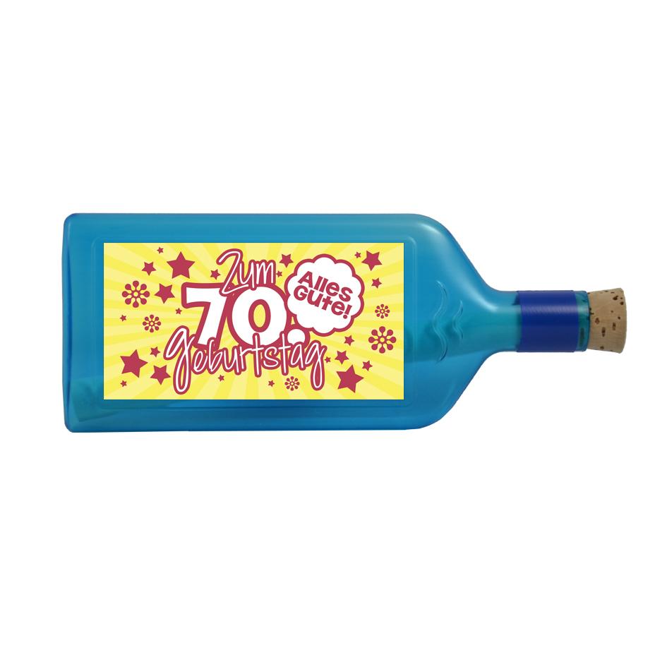 """Blaue Flasche mit Sujet """"Zum 70. Geburtstag"""""""