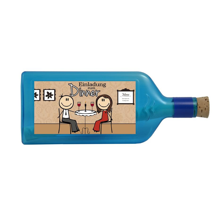 """Blaue Flasche mit Sujet """"Einladung zum Dinner"""""""