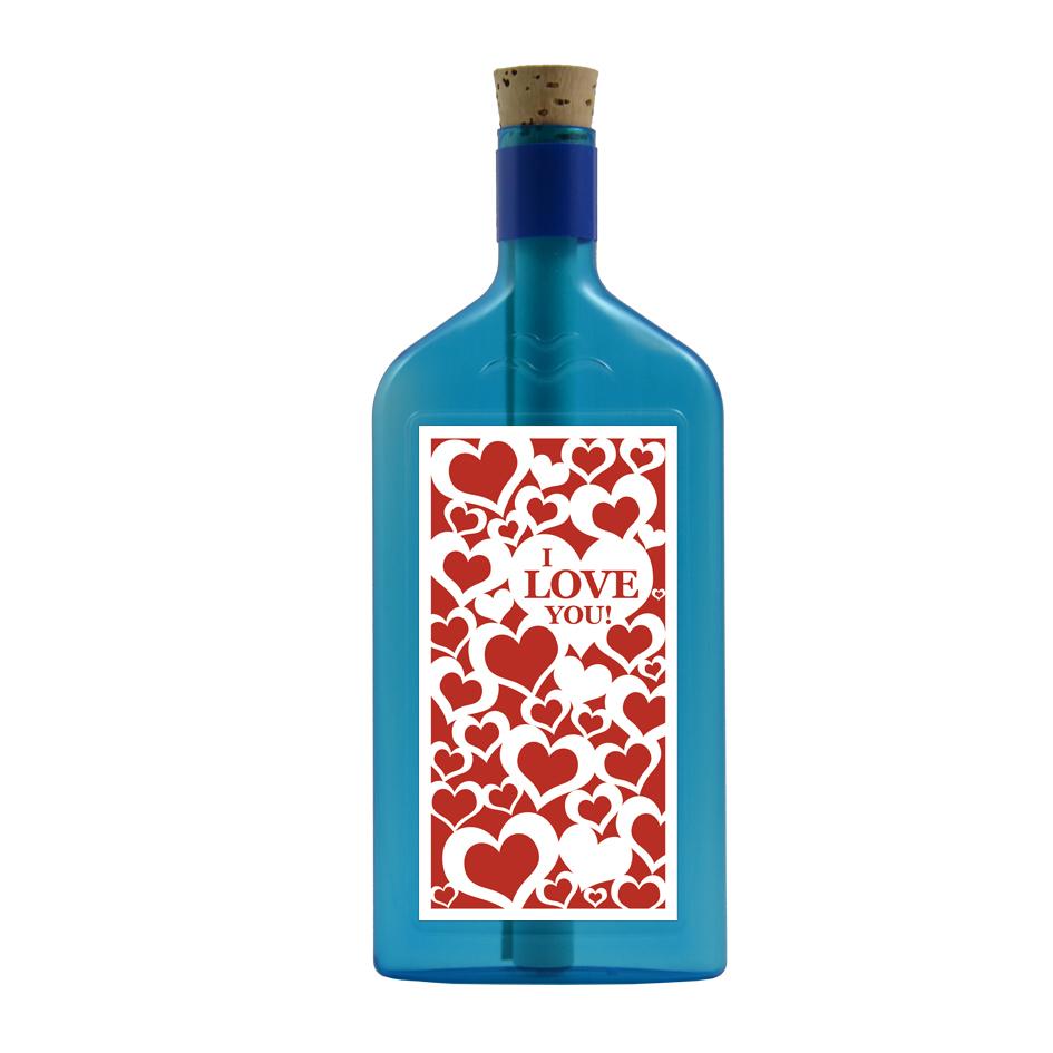 """Blaue Flasche mit Sujet """"I love you!"""""""