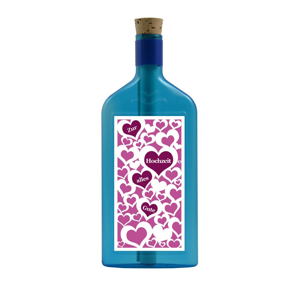 """Blaue Flasche mit Sujet """"Zur Hochzeit alles Gute"""""""