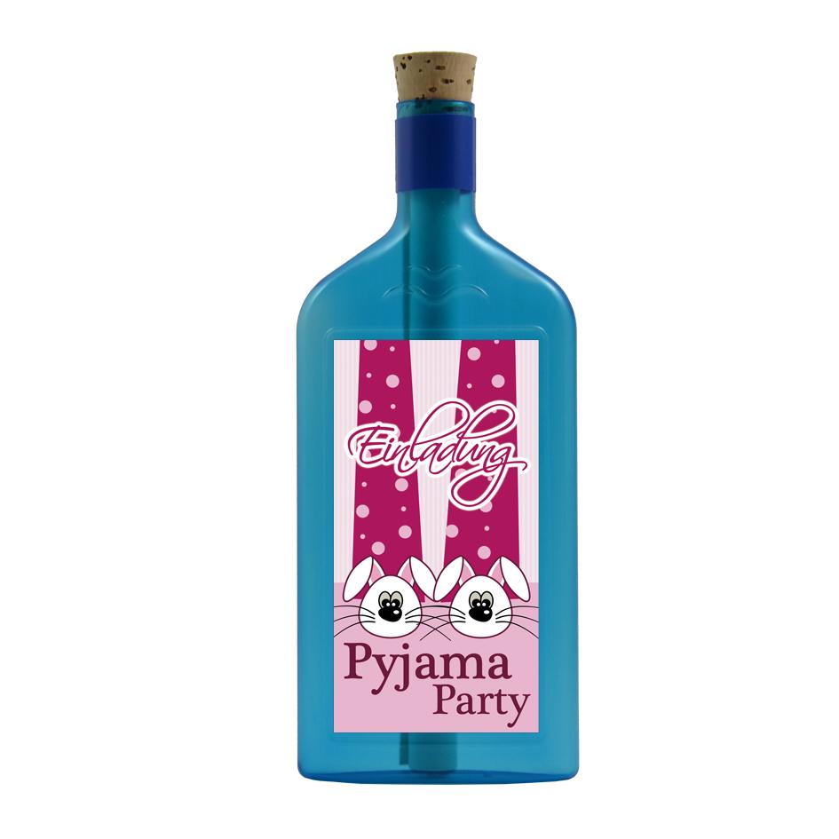 """Flaschengruss """"Einladung zur Pyjama Party"""""""
