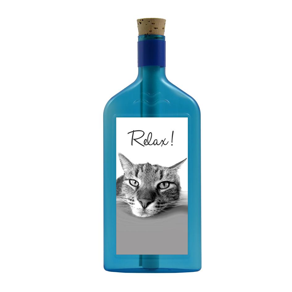 """Flaschengruss mit Sujet """"Katze Relax!"""""""